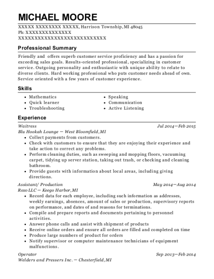 Waitress resume template Michigan