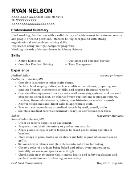 Medical Biller resume format Michigan