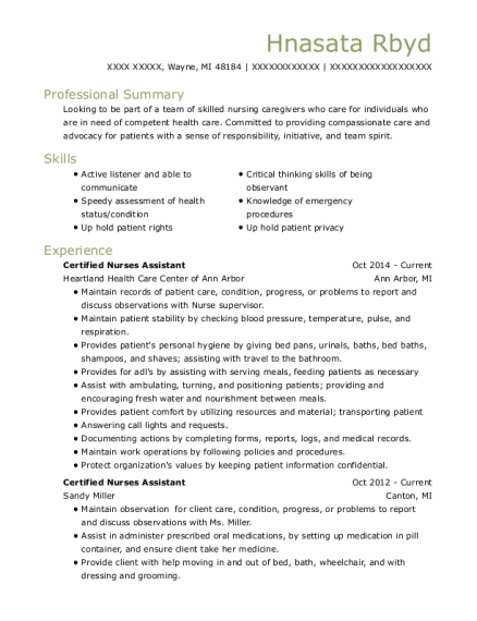Certified Nurses Assistant resume example Michigan