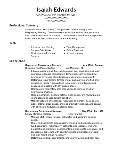 Registered Respiratory Therapist resume sample Michigan