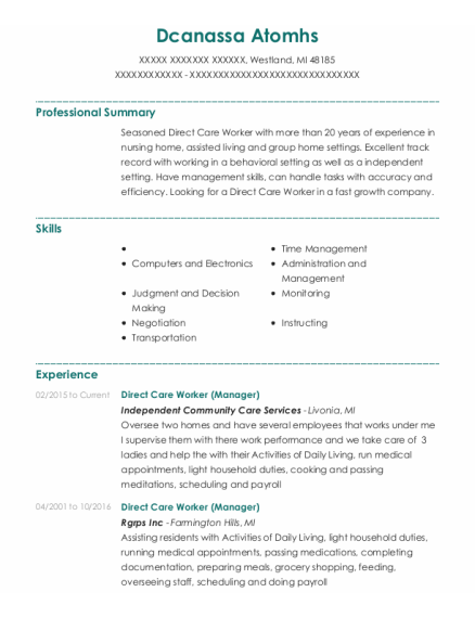 Direct Care Worker resume example Michigan
