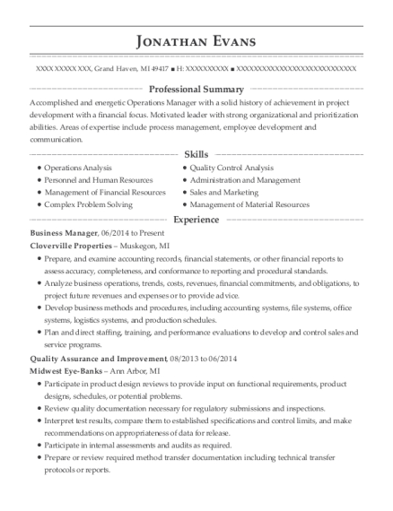 Business Manager resume format Michigan