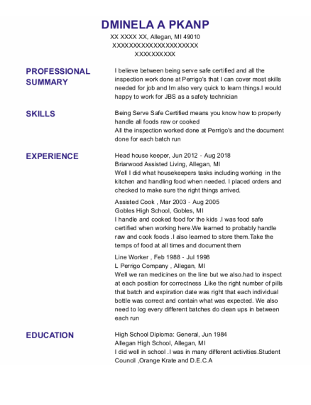 Head House Keeper resume template Michigan