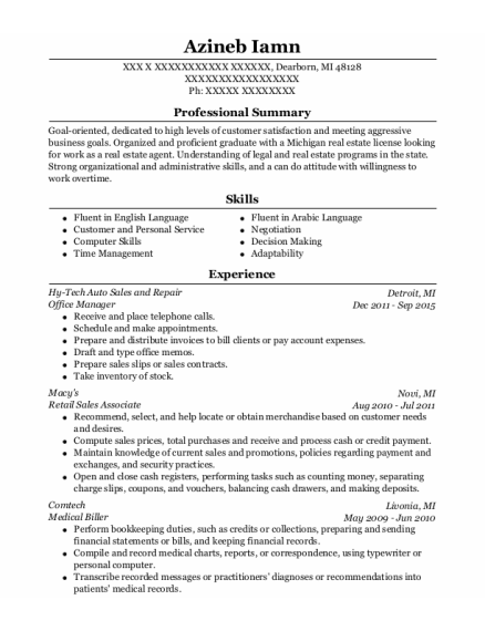 Office Manager resume template Michigan