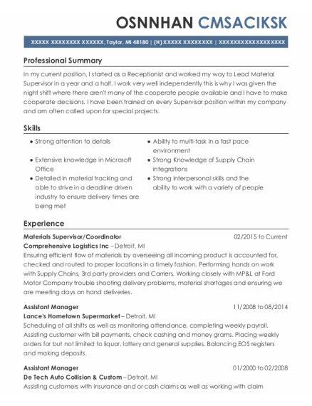 Assistant Manager resume sample Michigan