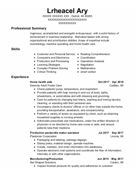 Home Health Aide resume sample Michigan