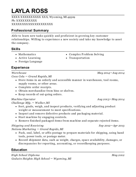 Warehouse resume example Michigan