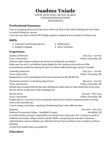 Quality Technician resume sample Michigan