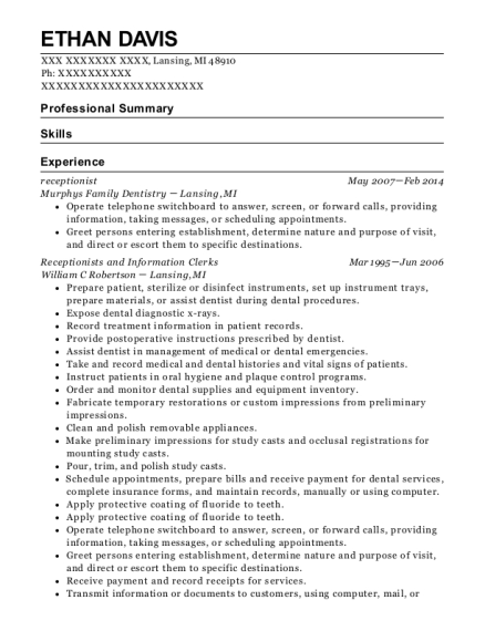 Receptionist resume example Michigan