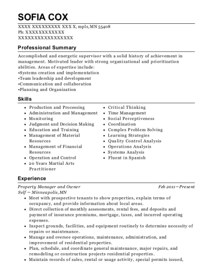 Property Manager and Owner resume sample Minnesota