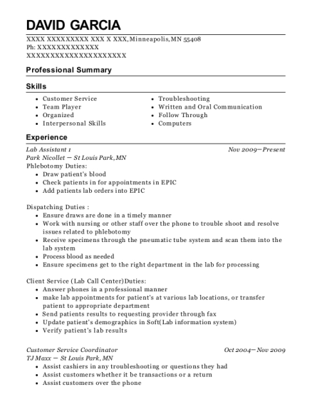 Park Nicollet Lab Assistant 1 Resume Sample - Minneapolis