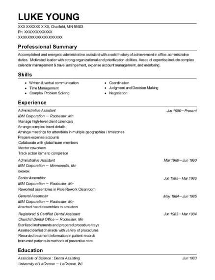 Administrative Assistant resume sample Minnesota