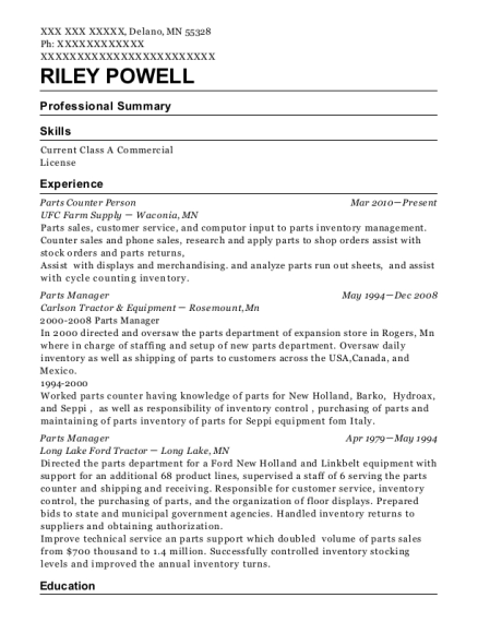Parts Counter Person resume example Minnesota
