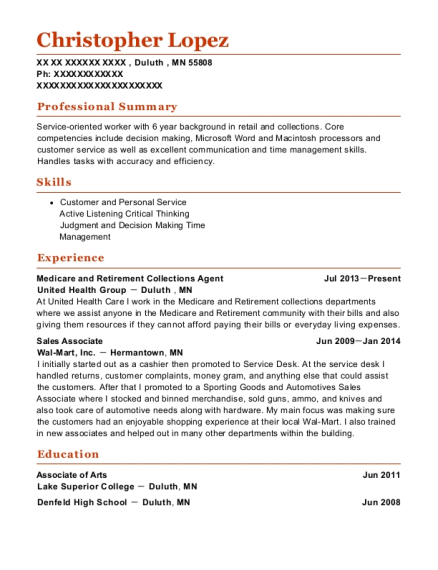 Medicare and Retirement Collections Agent resume sample Minnesota