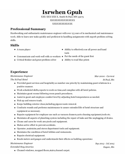 Maintenance Engineer resume format Minnesota