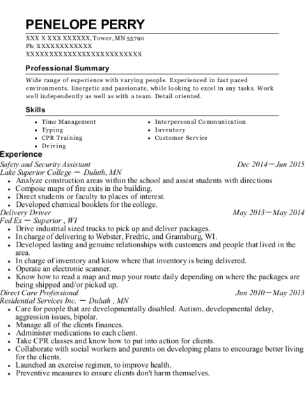 Safety and Security Assistant resume sample Minnesota
