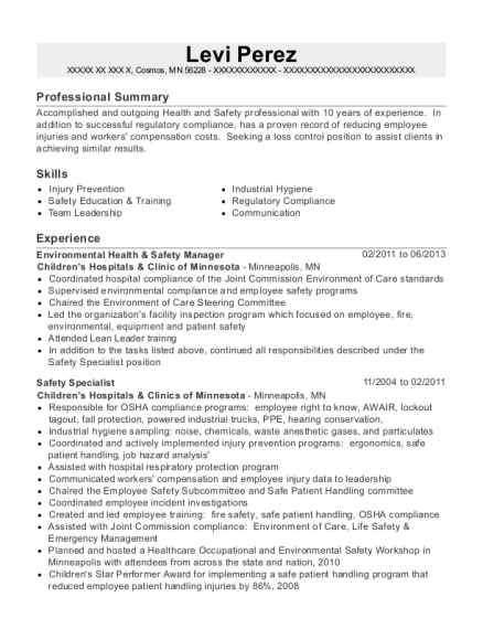 Environmental Health & Safety Manager resume sample Minnesota