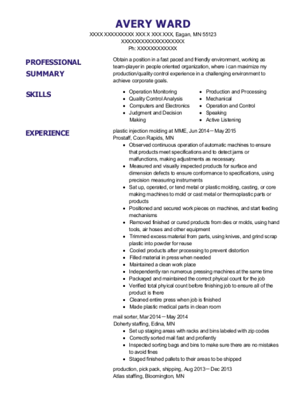 plastic injection molding at MME resume template Minnesota
