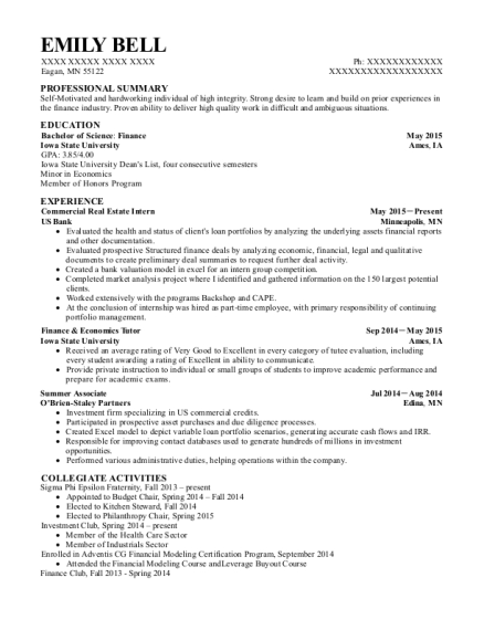 Us Bank Commercial Real Estate Intern Resume Sample Eagan