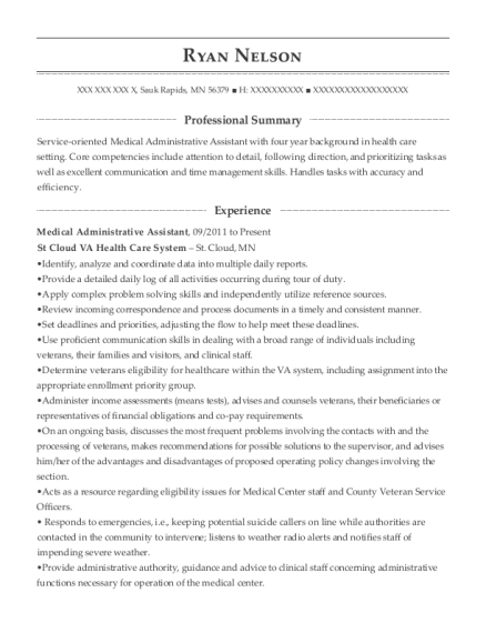 Medical Administrative Assistant resume template Minnesota