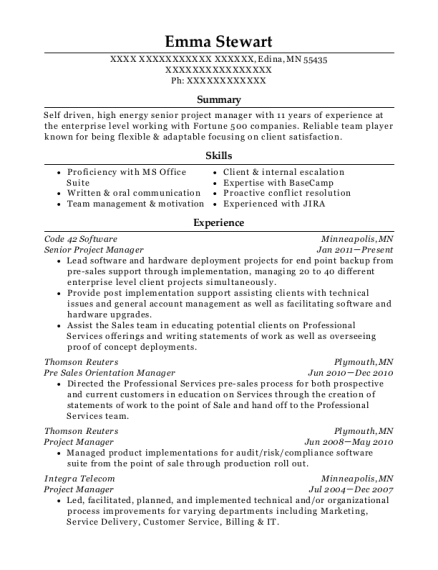 Senior Project Manager resume example Minnesota