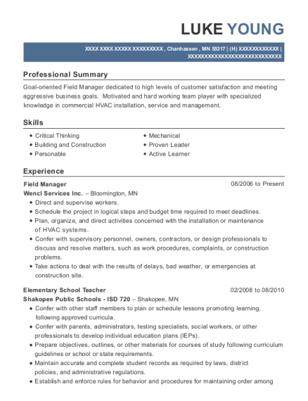 Field Manager resume example Minnesota