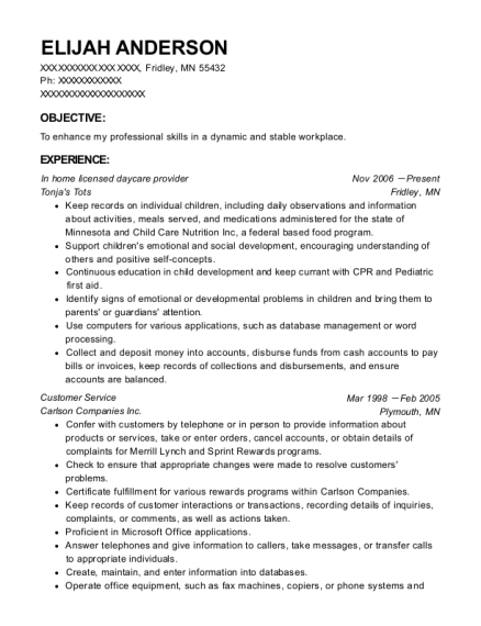 In home licensed daycare provider resume example Minnesota