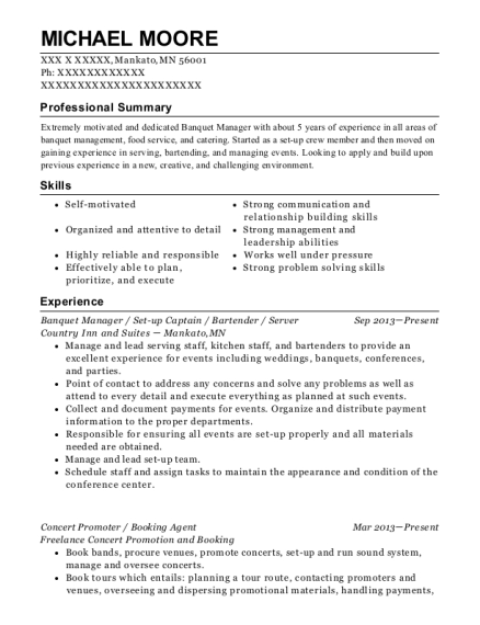 Banquet Manager resume example Minnesota