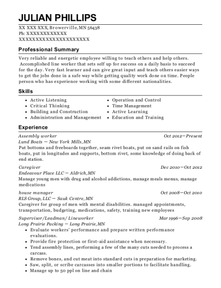 Assembly worker resume template Minnesota