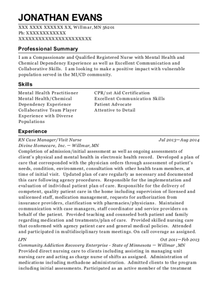 RN Case Manager resume example Minnesota