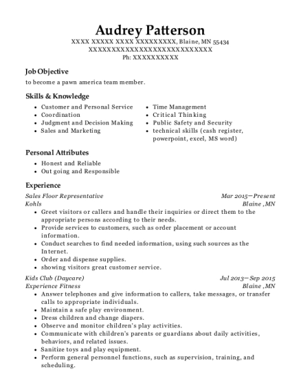 Sales Floor Representative resume sample Minnesota