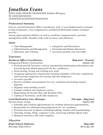 Business Office Coordinator resume format Minnesota