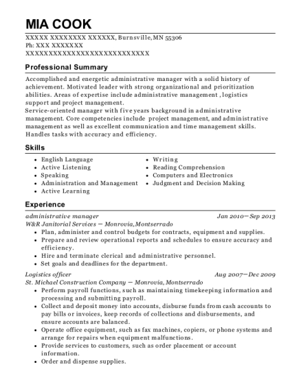 Administrative Manager resume format Minnesota
