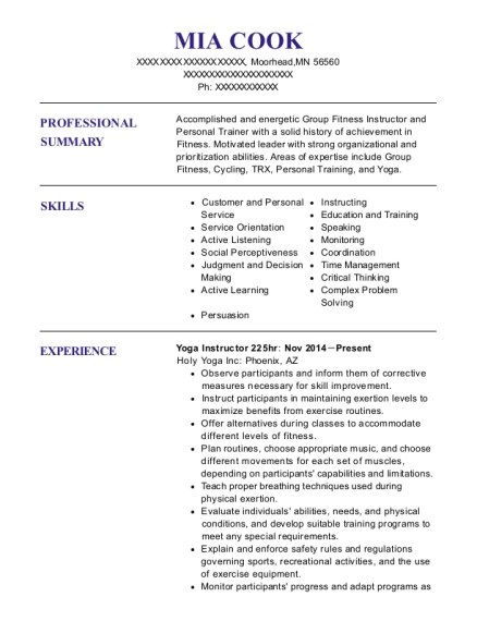 Yoga Instructor 225hr resume template Minnesota