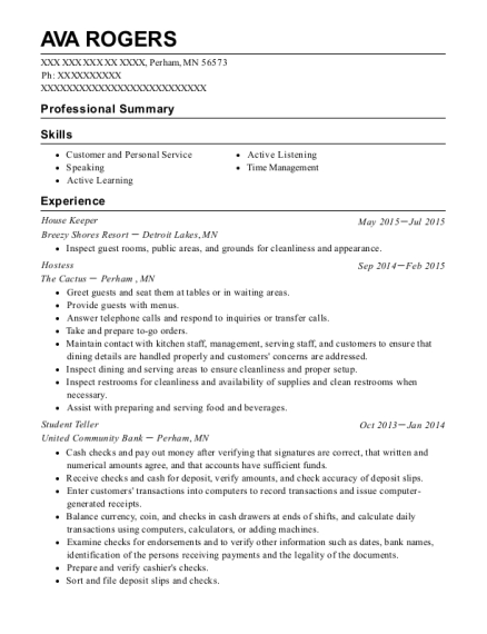 House Keeper resume example Minnesota