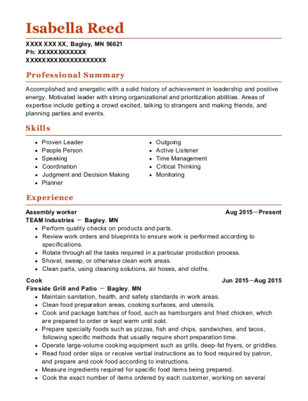 Assembly worker resume example Minnesota
