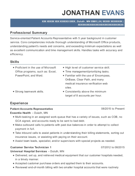 Patient Accounts Representative resume example Minnesota