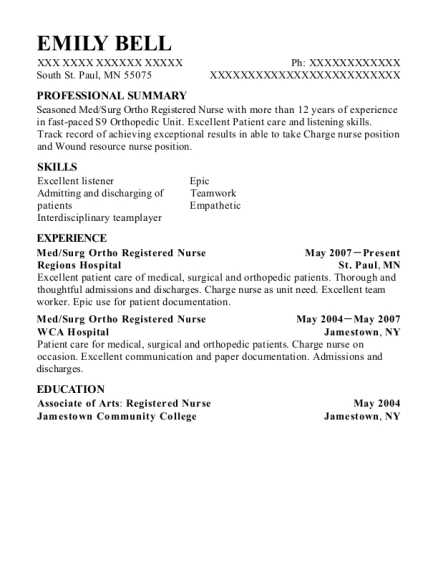 Med resume template Minnesota