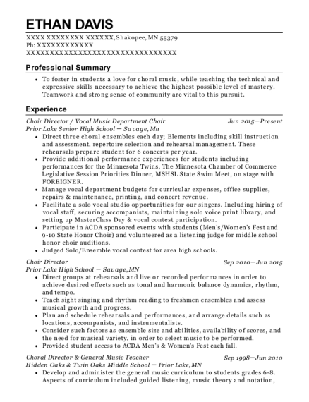 Choir Director resume template Minnesota