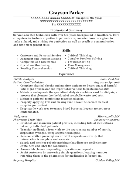 Patient Care Technician resume template Minnesota