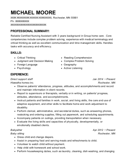 Direct support staff resume format Minnesota