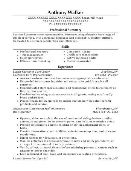 Customer Care Representative resume sample Minnesota