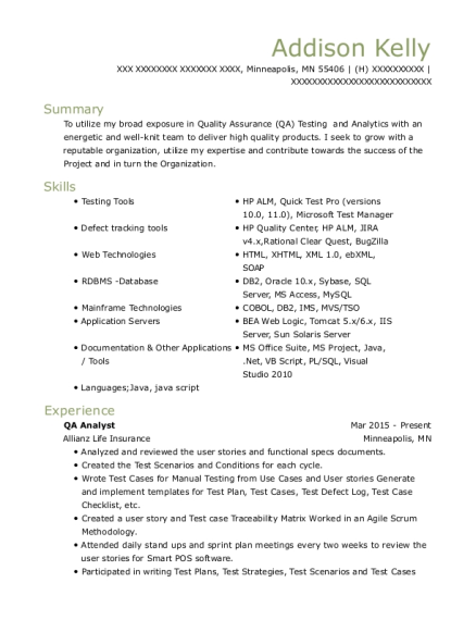 Bank Of America Qa Analyst Resume Sample Resumehelp