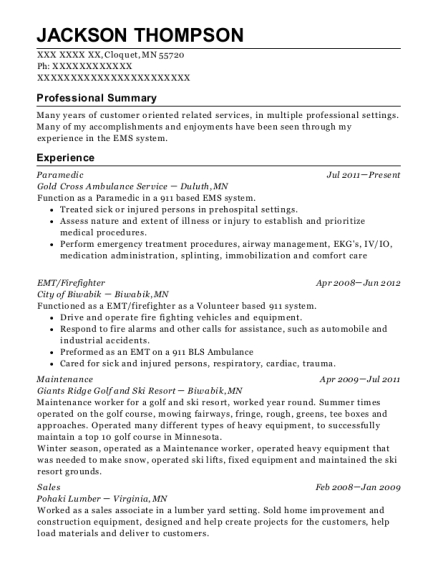 Paramedic resume sample Minnesota