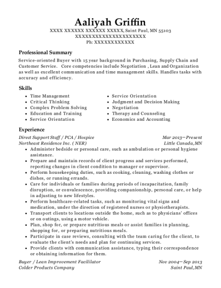 Direct Support Staff resume sample Minnesota