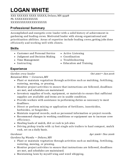 Garden crew leader resume example Minnesota