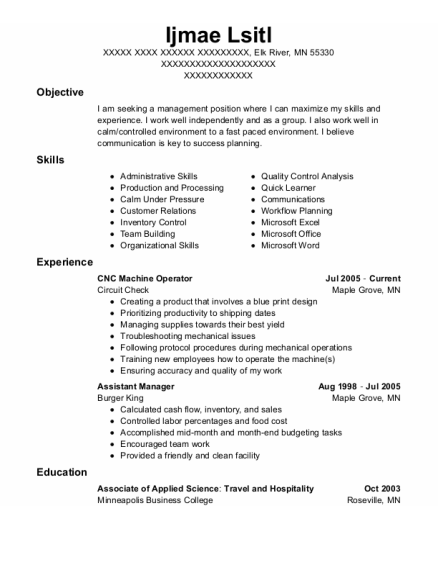 CNC Machine Operator resume sample Minnesota