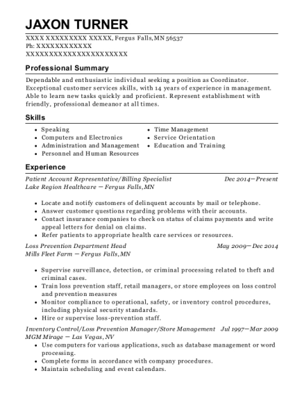 Patient Account Representative resume example Minnesota