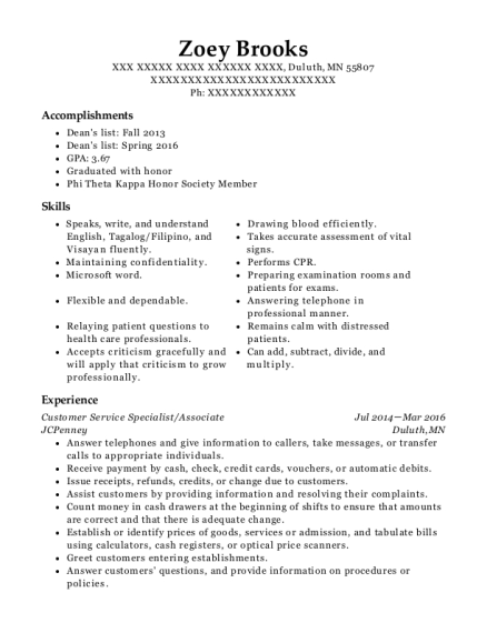 Customer Service Specialist resume example Minnesota