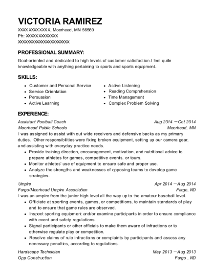 Assistant Football Coach resume format Minnesota